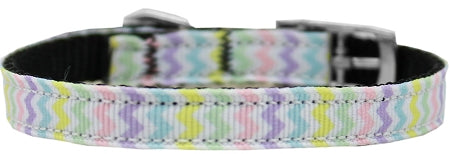 "Spring Chevron Nylon Dog Collar With Classic Buckle 3/8"" Size."
