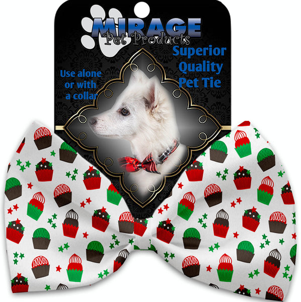 Christmas Cupcakes Pet Bow Tie Collar Accessory With Velcro.
