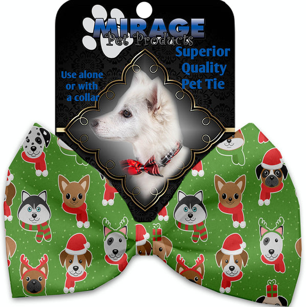 Christmas Dogs Pet Bow Tie Collar Accessory With Velcro.