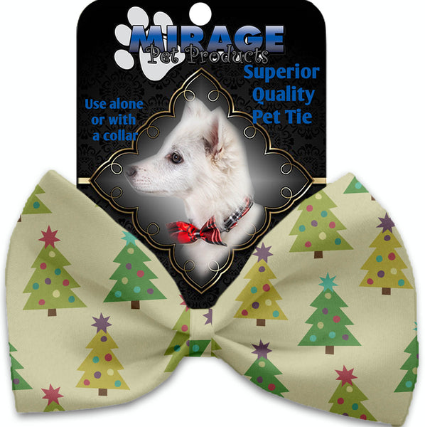 Cutesy Christmas Trees Pet Bow Tie Collar Accessory With Velcro.