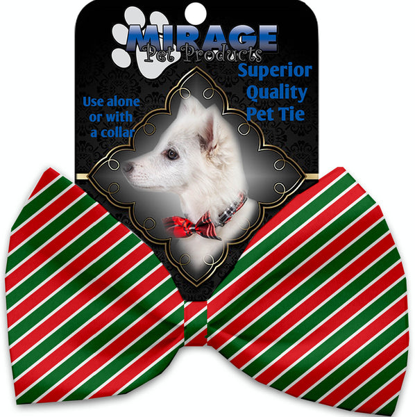 Christmas Stripes Pet Bow Tie Collar Accessory With Velcro.