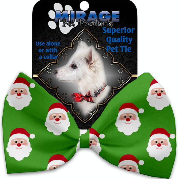 Smiling Santa Pet Bow Tie Collar Accessory With Velcro.