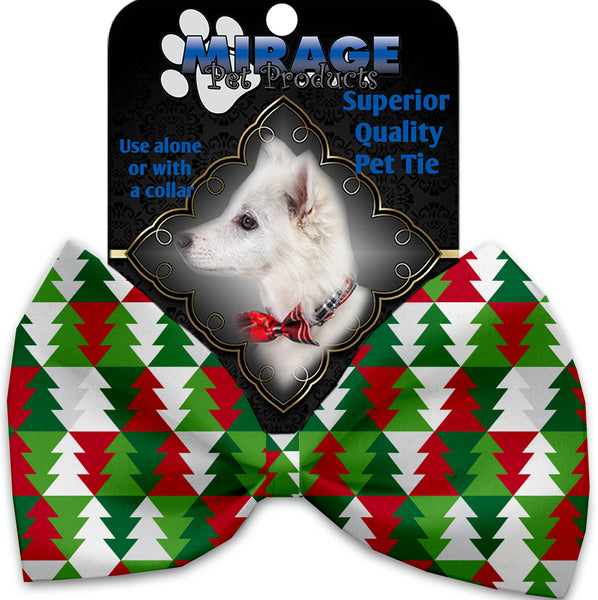 Classy Christmas Trees Pet Bow Tie Collar Accessory With Velcro.