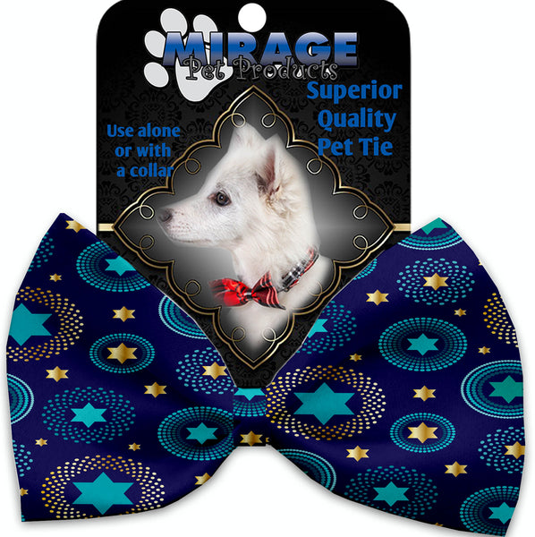 Blue Star Of David Pet Bow Tie Collar Accessory With Velcro.