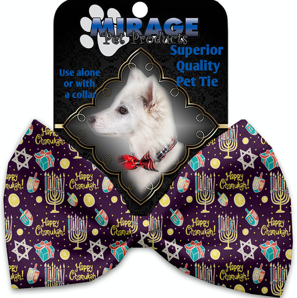 Happy Chanukah Pet Bow Tie Collar Accessory With Velcro.