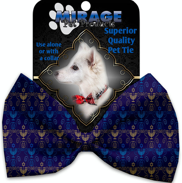 Menorah Madness Pet Bow Tie Collar Accessory With Velcro.