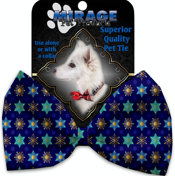 Star Of Davids And Snowflakes Pet Bow Tie Collar Accessory With Velcro.