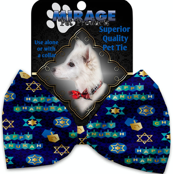 Chanukah Bliss Pet Bow Tie Collar Accessory With Velcro.