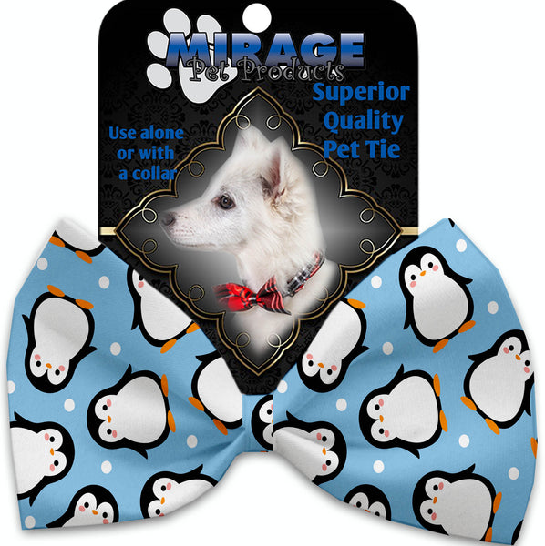 Penguins In Blue Pet Bow Tie Collar Accessory With Velcro.