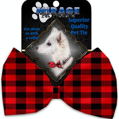 Red Buffalo Check Pet Bow Tie Collar Accessory With Velcro.