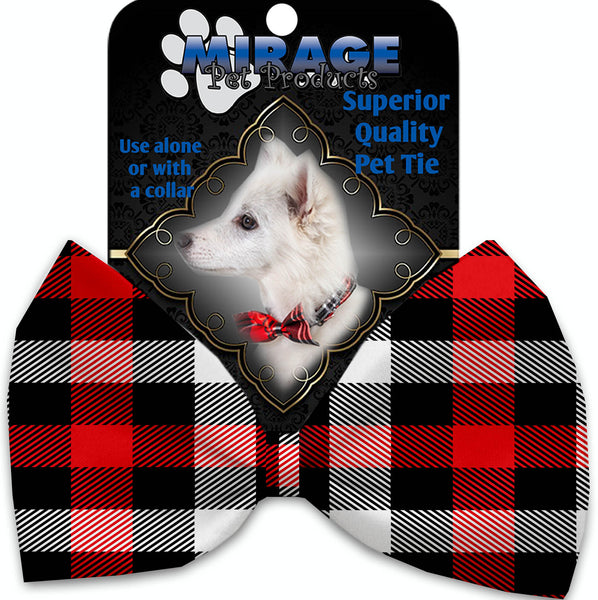 Red And White Buffalo Check Pet Bow Tie Collar Accessory With Velcro.