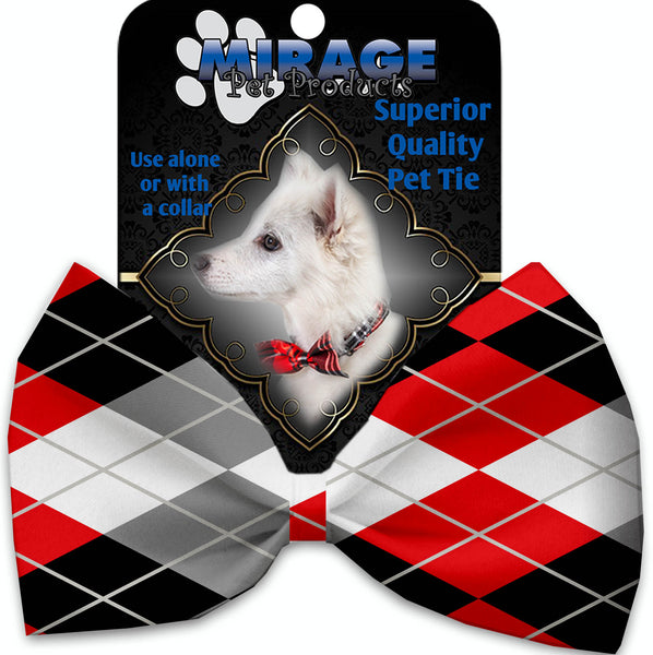 Red And Grey Argyle Pet Bow Tie Collar Accessory With Velcro.
