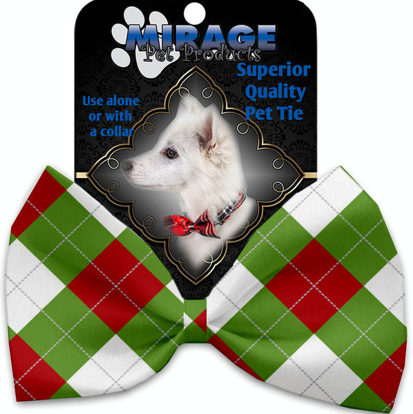 Christmas Argyle Pet Bow Tie Collar Accessory With Velcro.