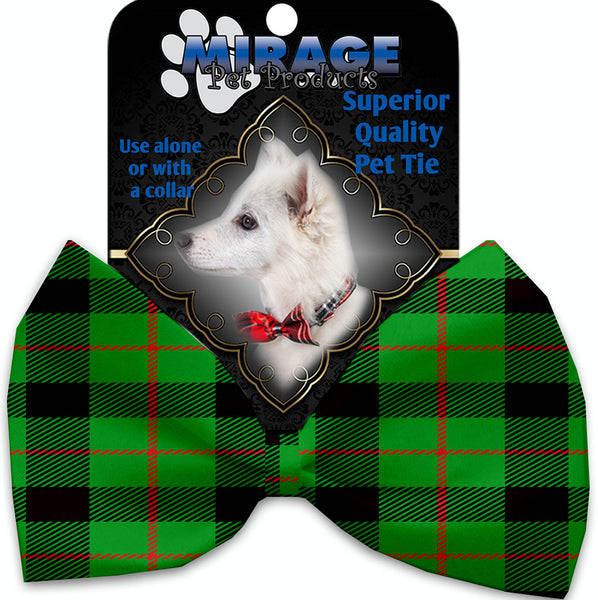 Green Plaid Pet Bow Tie Collar Accessory With Velcro.