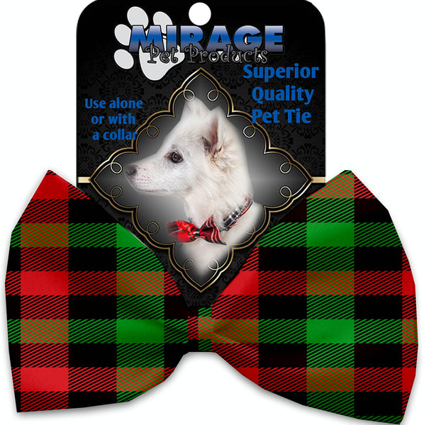 Christmas Plaid Pet Bow Tie Collar Accessory With Velcro.