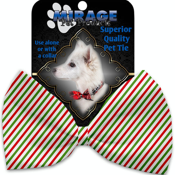 Christmas Pinstripes Pet Bow Tie Collar Accessory With Velcro.
