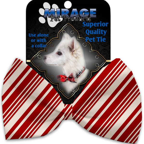 Classic Candy Cane Stripes Pet Bow Tie Collar Accessory With Velcro.
