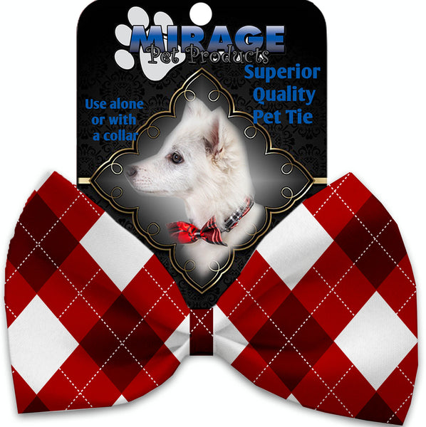 Candy Cane Argyle Pet Bow Tie Collar Accessory With Velcro.