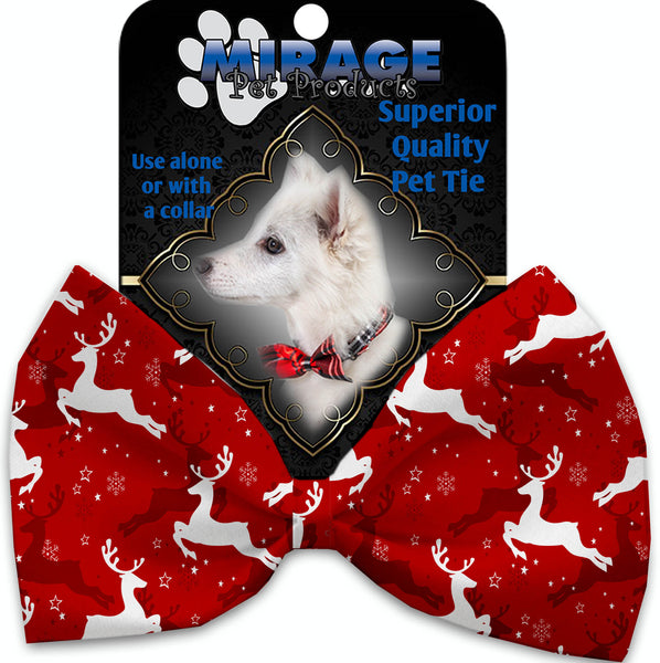 Dancing Reindeer Pet Bow Tie Collar Accessory With Velcro.