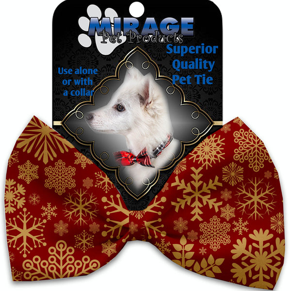 Red Snowflakes Pet Bow Tie Collar Accessory With Velcro.