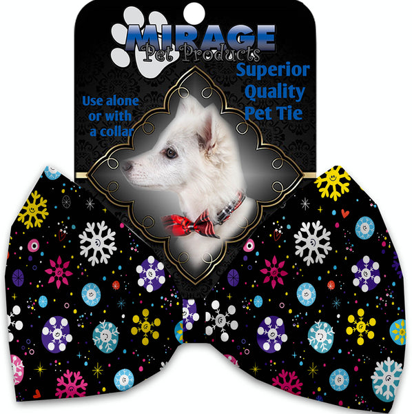 Smiley Snowflakes Pet Bow Tie Collar Accessory With Velcro.