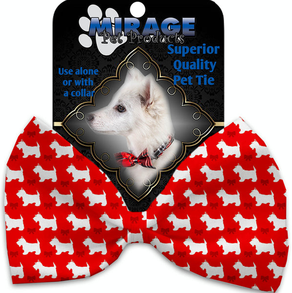 Christmas Westie Pet Bow Tie Collar Accessory With Velcro.
