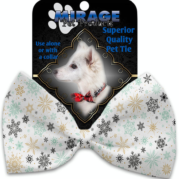 Vintage Snowflakes Pet Bow Tie Collar Accessory With Velcro.
