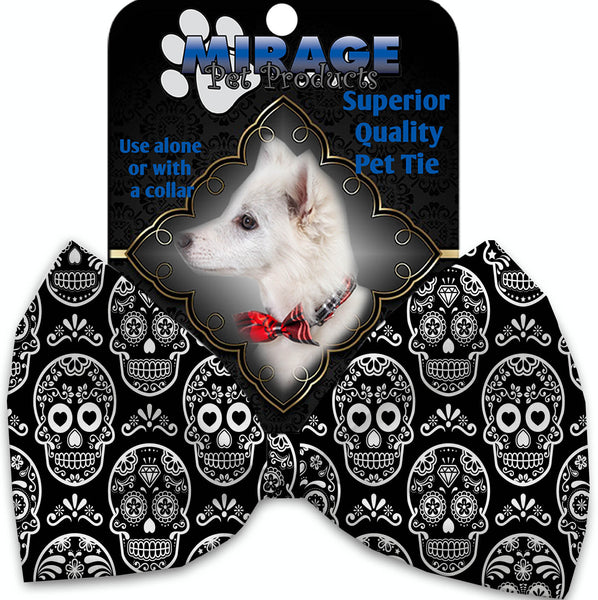 Classic Sugar Skulls Pet Bow Tie Collar Accessory With Velcro