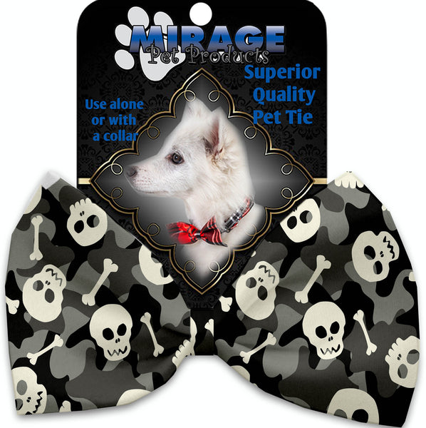 Gray Camo Skulls Pet Bow Tie Collar Accessory With Velcro