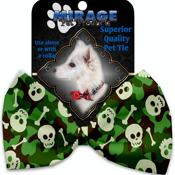 Green Camo Skulls Pet Bow Tie Collar Accessory With Velcro