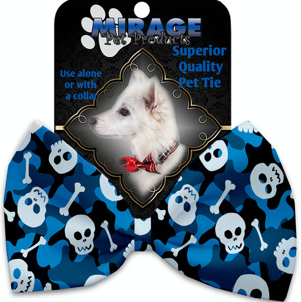 Blue Camo Skulls Pet Bow Tie Collar Accessory With Velcro.