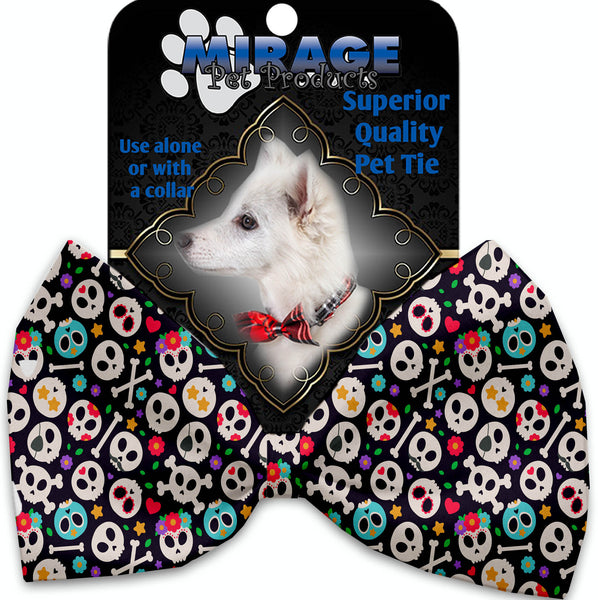 Dia De Los Muertos Skulls Pet Bow Tie Collar Accessory With Velcro