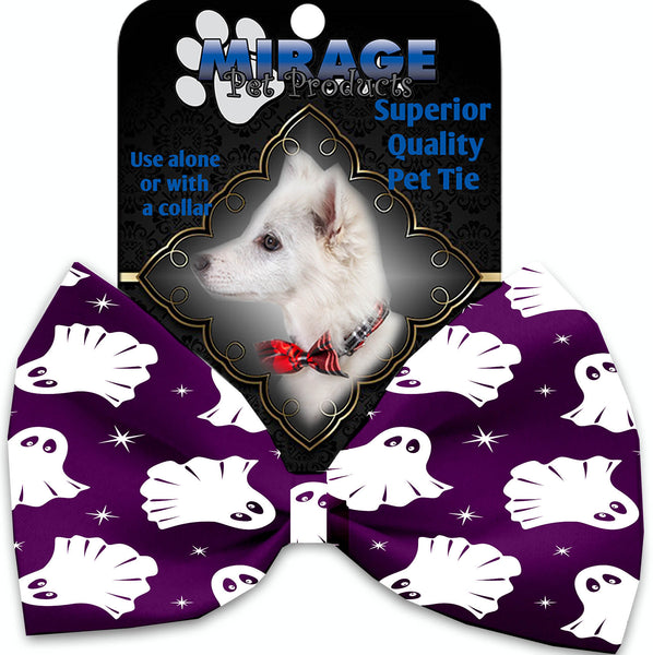 Ghosts On Purple Pet Bow Tie Collar Accessory With Velcro