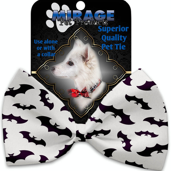 Purple Bats Pet Bow Tie Collar Accessory With Velcro.