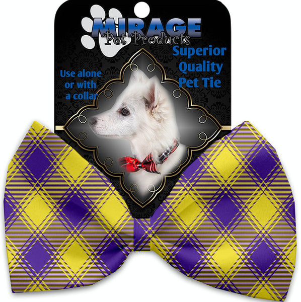 Purple And Yellow Plaid Pet Bow Tie Collar Accessory With Velcro
