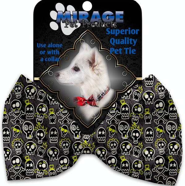 Skater Skulls Pet Bow Tie Collar Accessory With Velcro