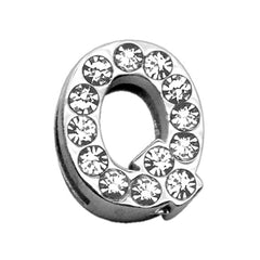 "3-4"" (18mm) Clear Letter Sliding Charms Q."