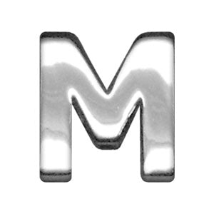 "3-4"" (18mm) Chrome Letter Sliding Charms M."