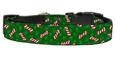 Candy Cane Bones Nylon Dog Collar.