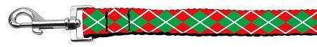 Christmas Argyle Nylon Dog Leash 5/8 Inch Wide Long