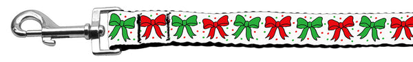 Christmas Bows Nylon Dog Leash 5/8 Inch Wide Long.