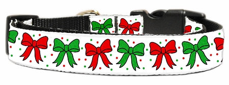 Christmas Bows Nylon Dog Collar.