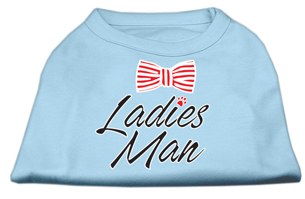 Ladies Man Screen Print Dog Shirt Baby Blue.