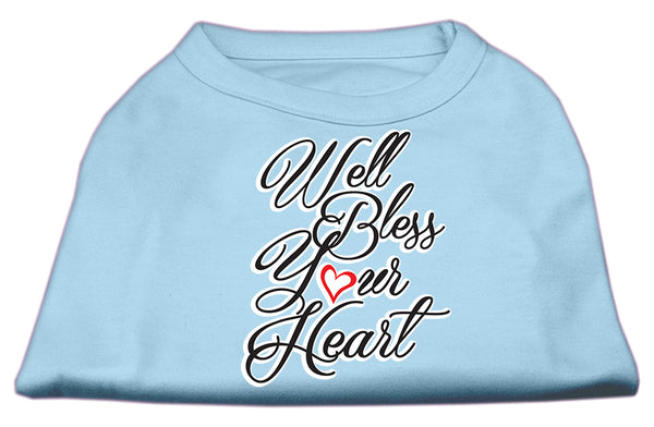 Well Bless Your Heart Screen Print Dog Shirt Baby Blue.