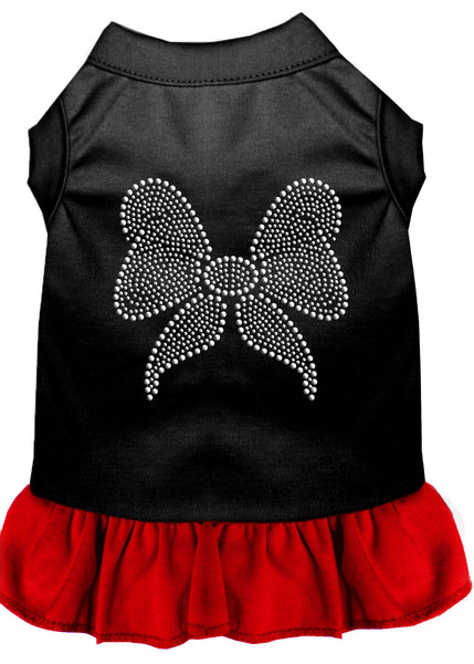 Rhinestone Bow Dresses Black With Red.