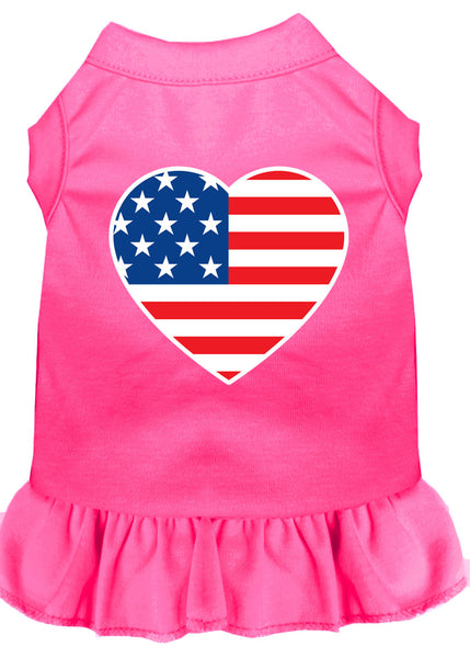 American Flag Heart Screen Print Dress Bright Pink.