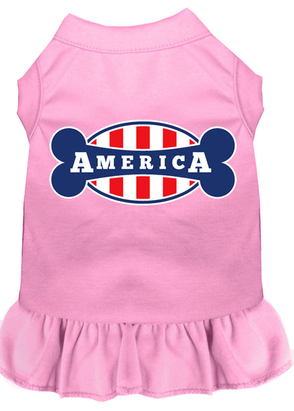 Bonely In America Screen Print Dress Light Pink.