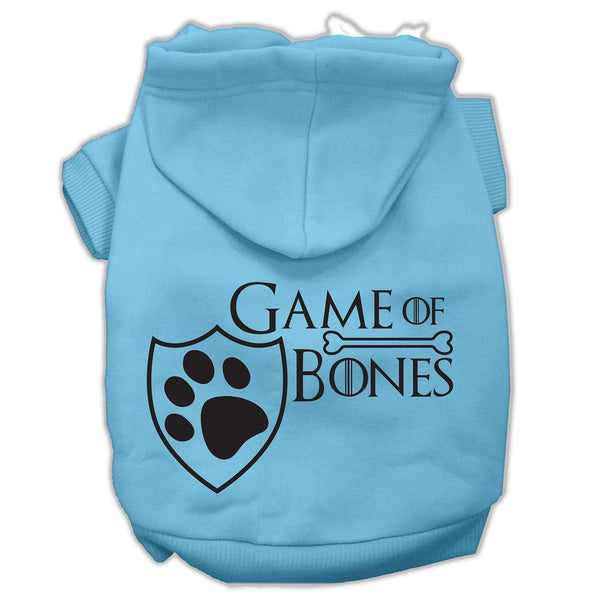 Game Of Bones Screenprint Dog Hoodie Baby Blue.
