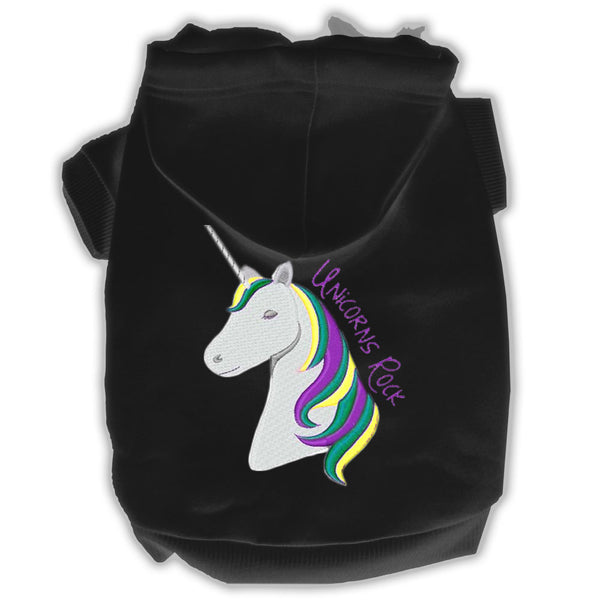 Unicorns Rock Embroidered Dog Hoodie Baby Blue.