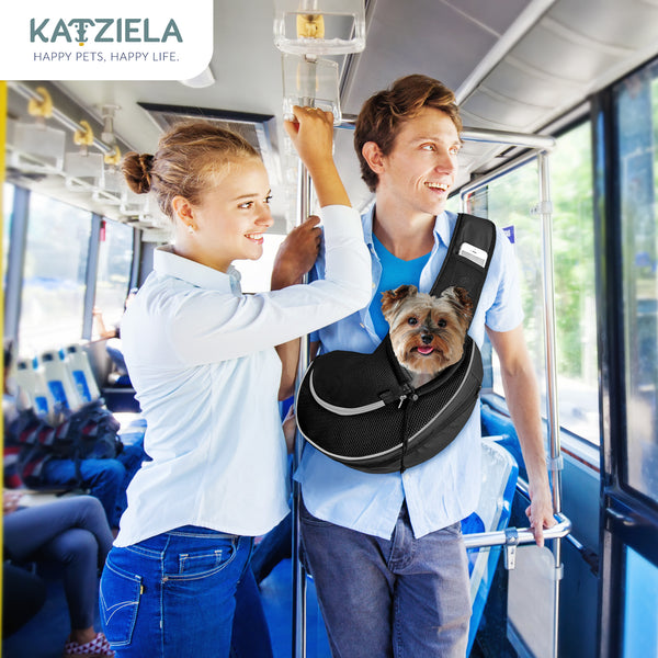 Katziela Pet Carrier Sling Bag Black.